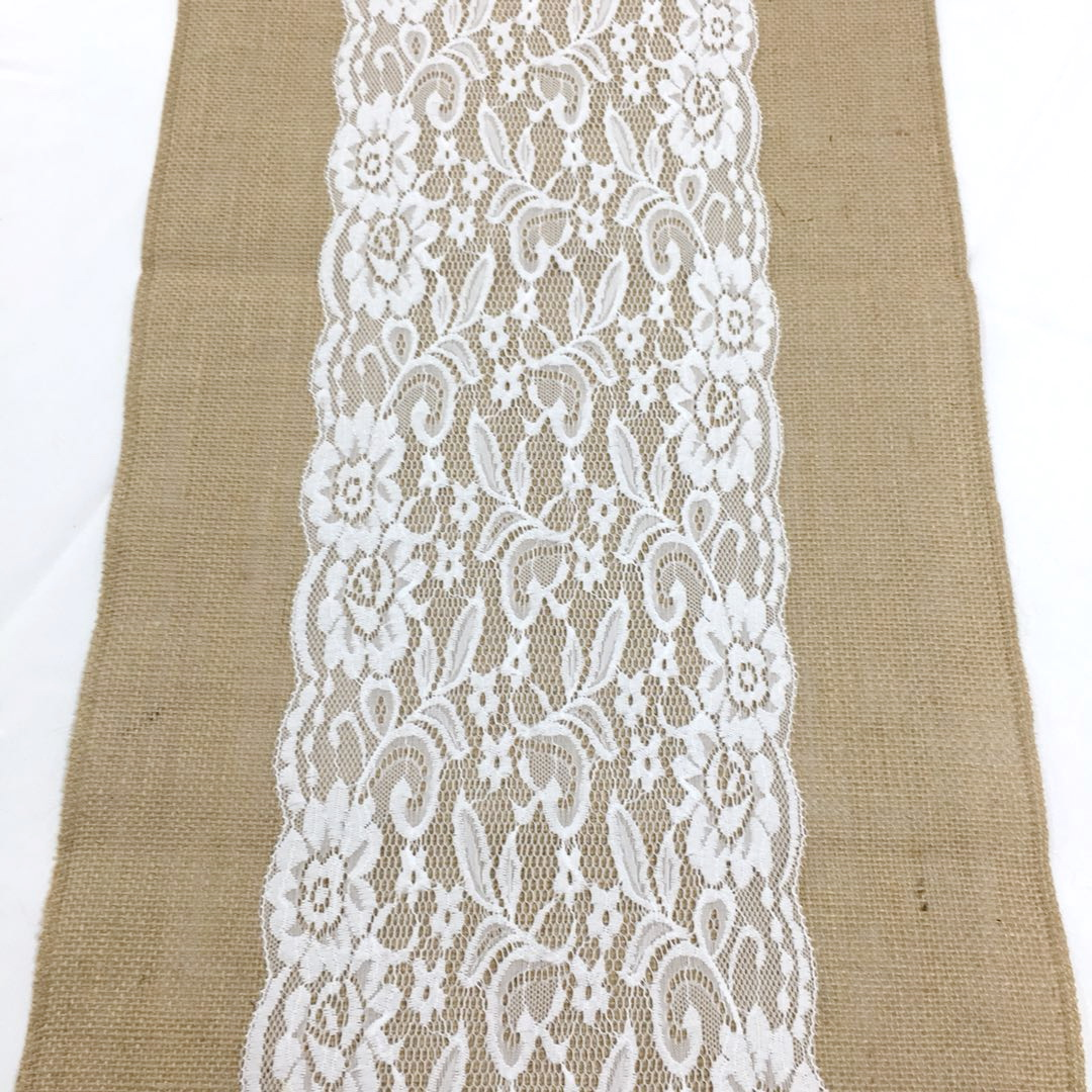 Jute with lace table runner