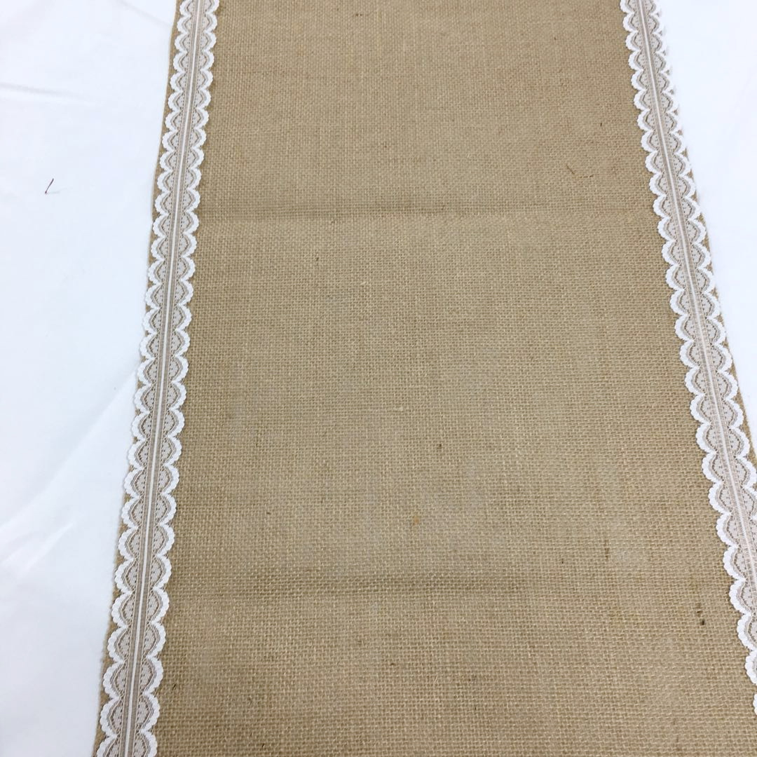 Hessian Jute with lace table runner