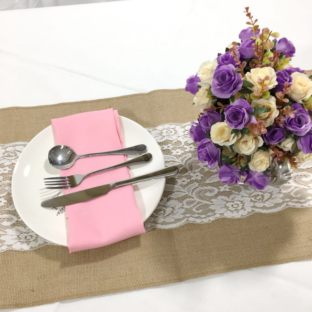 Burlap Jute with Lace Table Runner