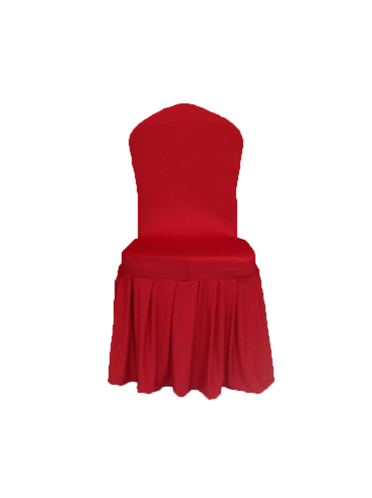 Red SKirting Chair COver