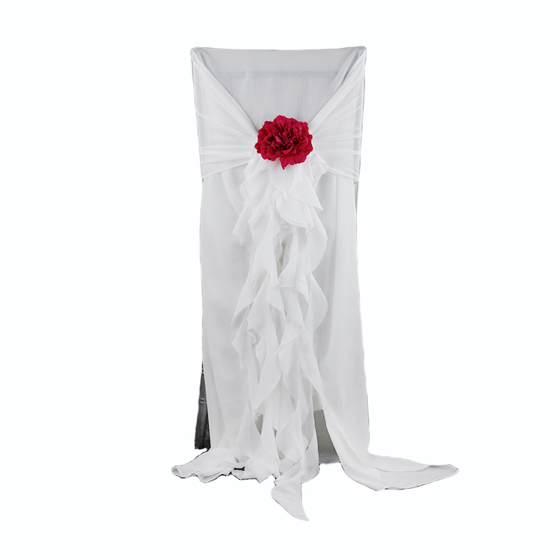 Chiffon Fancy Curly Willow ruffles chiavari chair cover for wedding