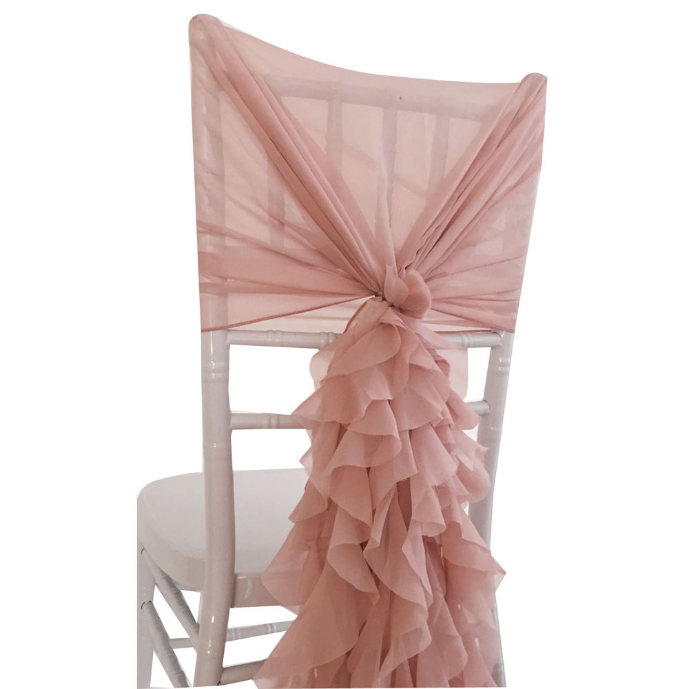 Blush Chiffon Fancy Chair Cover Hoods with Ruffles back