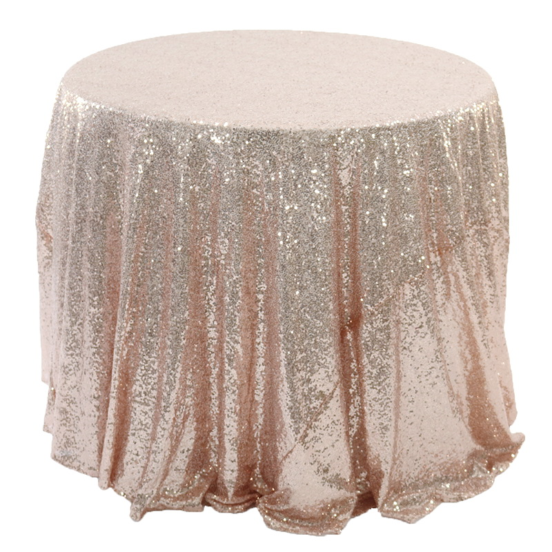 Shiny Sequin Embroidered Round Wedding Table Cloth