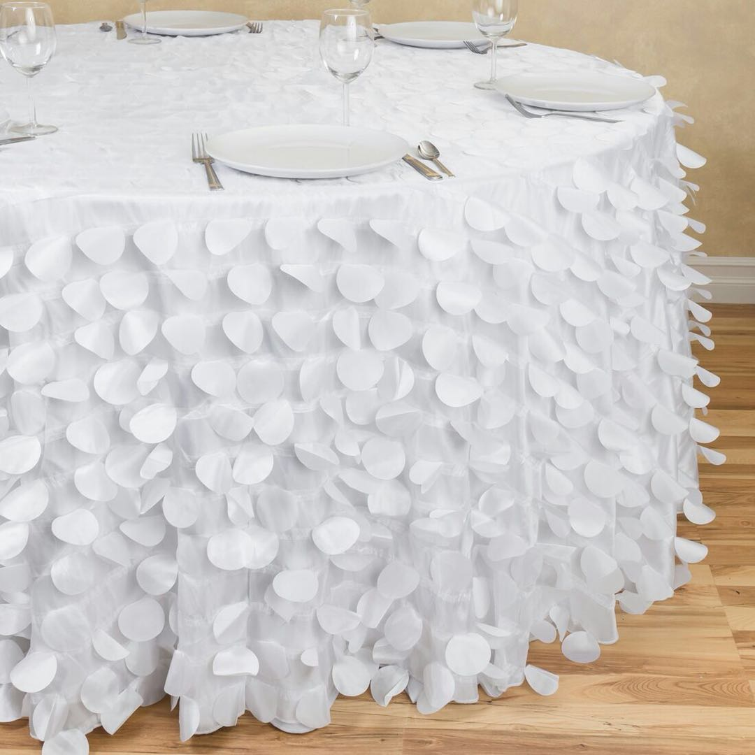 White Petal Embroidered Table Cloth Round