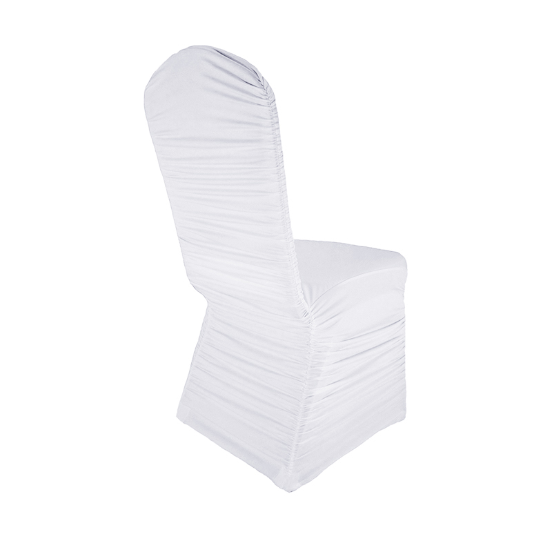 Spandex Ruffled Lycra Ruched Chair Cover For Banquet