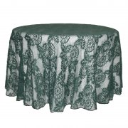 Dark Green Lace Jacquard Round Table Cloth
