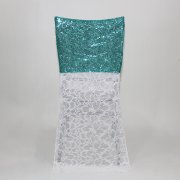 High Quality Sequin with Lace Jacquard Chair Cover hoods